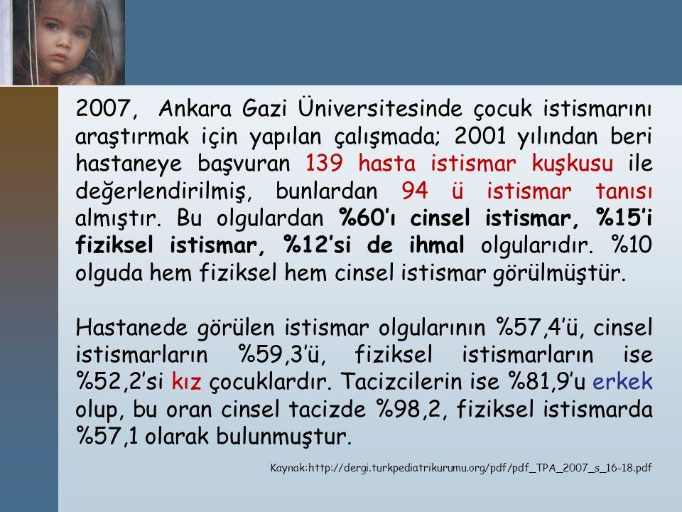 2007, Ankara Gazi Üniversitesinde çocuk istismarını araştırmak için yapılan çalışmada; 2001 yılından beri hastaneye başvuran 139 hasta istismar kuşkus