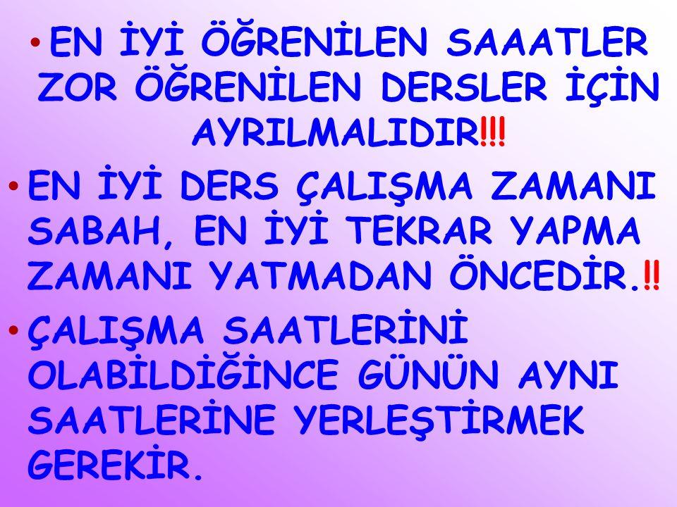 EN İYİ ÖĞRENİLEN SAAATLER ZOR ÖĞRENİLEN DERSLER İÇİN AYRILMALIDIR!!.