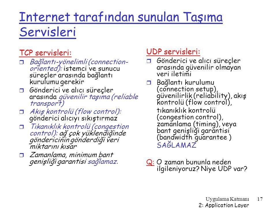 Uygulama Katmanı 2: Application Layer 17 Internet tarafından sunulan Taşıma Servisleri TCP servisleri: r Bağlantı-yönelimli (connection- oriented): is