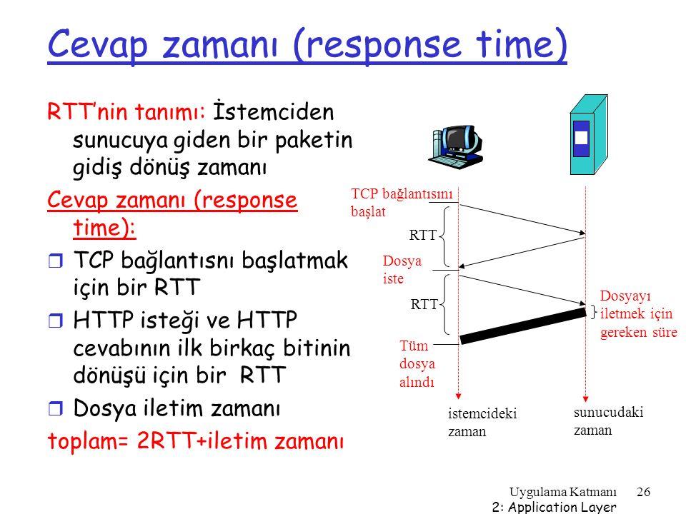 Uygulama Katmanı 2: Application Layer 26 Cevap zamanı (response time) RTT'nin tanımı: İstemciden sunucuya giden bir paketin gidiş dönüş zamanı Cevap z
