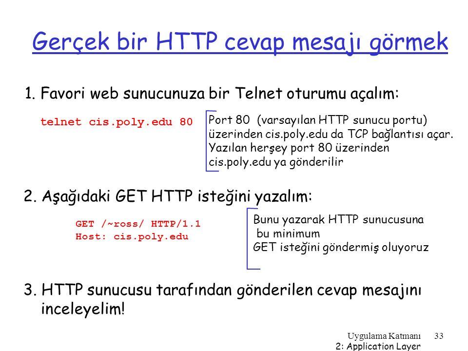 Uygulama Katmanı 2: Application Layer 33 Gerçek bir HTTP cevap mesajı görmek 1. Favori web sunucunuza bir Telnet oturumu açalım: Port 80 (varsayılan H