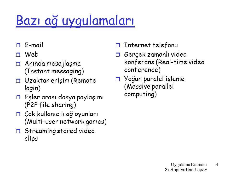 Uygulama Katmanı 2: Application Layer 75 Sorgu baskını (query flooding): Gnutella r Tümüyle dağıtık m Merkezi sunucu yok r Genel alan protokolü (public domain protocol) r Çok sayıda Gnutella istemcisi protokolü uygular Kaplama ağ (overlay network): grafik r Eğer TCP bağlantısı varsa, X ve Y eşleri arasında sınır var r Tüm aktif eşler ve sınırlar kaplama ağı oluşturur r Sınır fiziksel bir hat değildir r Herhangi bir eş < 10 kaplama komşu ile bağlıdır