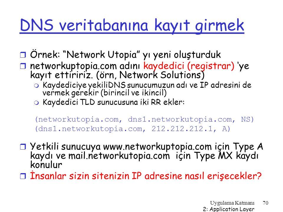 """Uygulama Katmanı 2: Application Layer 70 DNS veritabanına kayıt girmek r Örnek: """"Network Utopia"""" yı yeni oluşturduk r networkuptopia.com adını kaydedi"""