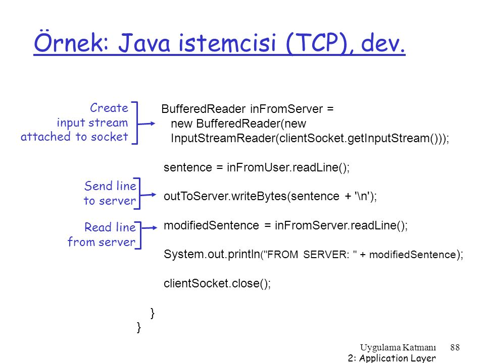 Uygulama Katmanı 2: Application Layer 88 Örnek: Java istemcisi (TCP), dev. BufferedReader inFromServer = new BufferedReader(new InputStreamReader(clie