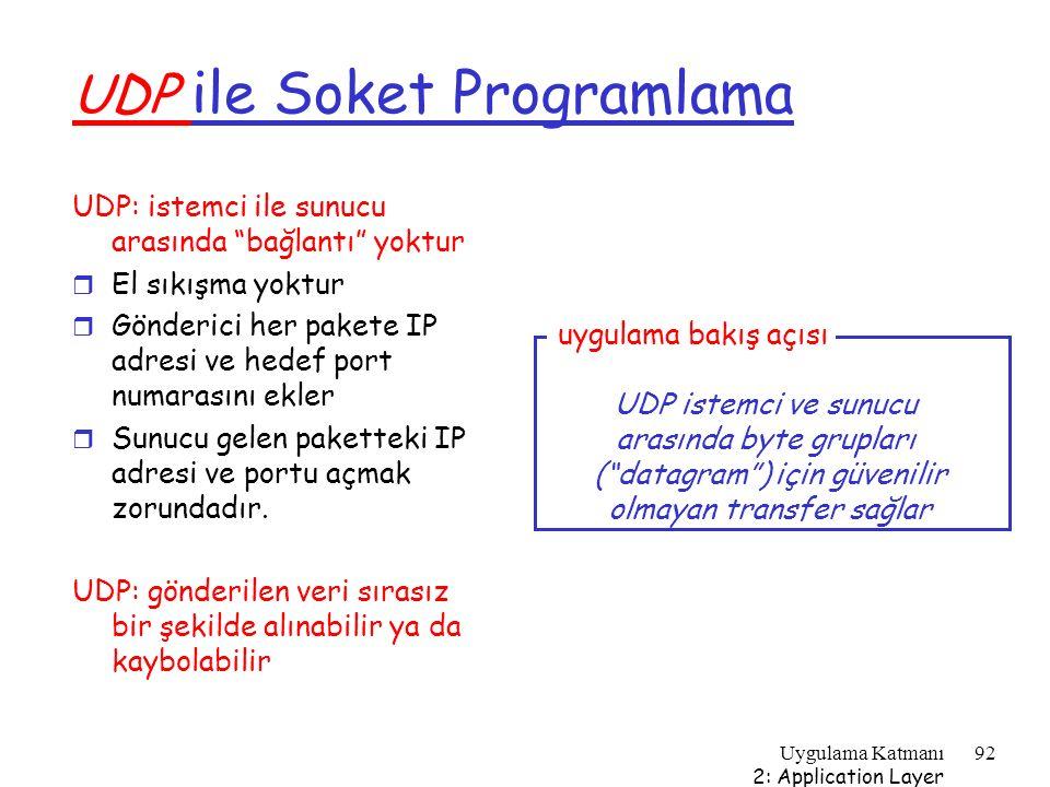 """Uygulama Katmanı 2: Application Layer 92 UDP ile Soket Programlama UDP: istemci ile sunucu arasında """"bağlantı"""" yoktur r El sıkışma yoktur r Gönderici"""
