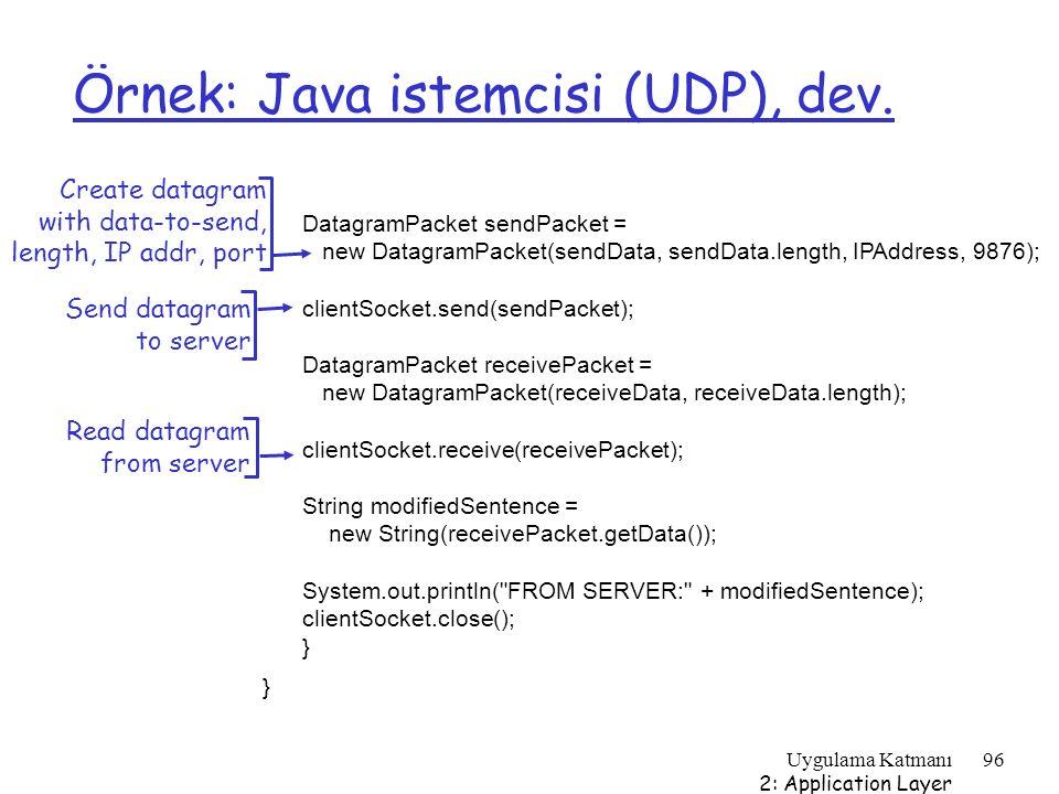 Uygulama Katmanı 2: Application Layer 96 Örnek: Java istemcisi (UDP), dev. DatagramPacket sendPacket = new DatagramPacket(sendData, sendData.length, I