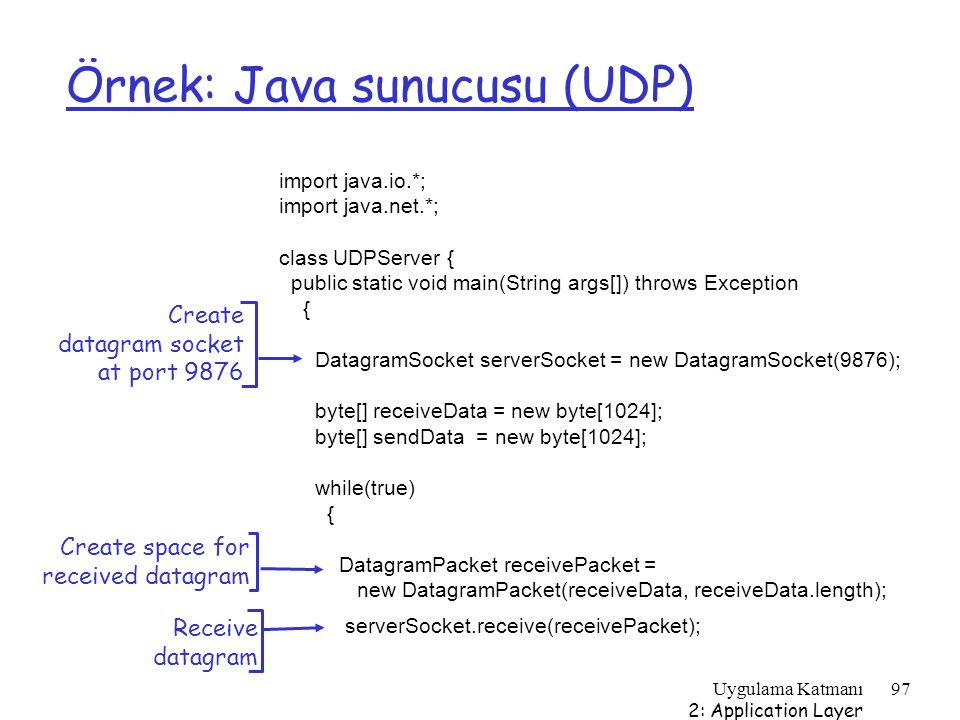 Uygulama Katmanı 2: Application Layer 97 Örnek: Java sunucusu (UDP) import java.io.*; import java.net.*; class UDPServer { public static void main(Str