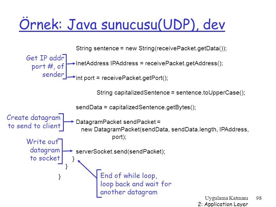 Uygulama Katmanı 2: Application Layer 98 Örnek: Java sunucusu(UDP), dev String sentence = new String(receivePacket.getData()); InetAddress IPAddress =