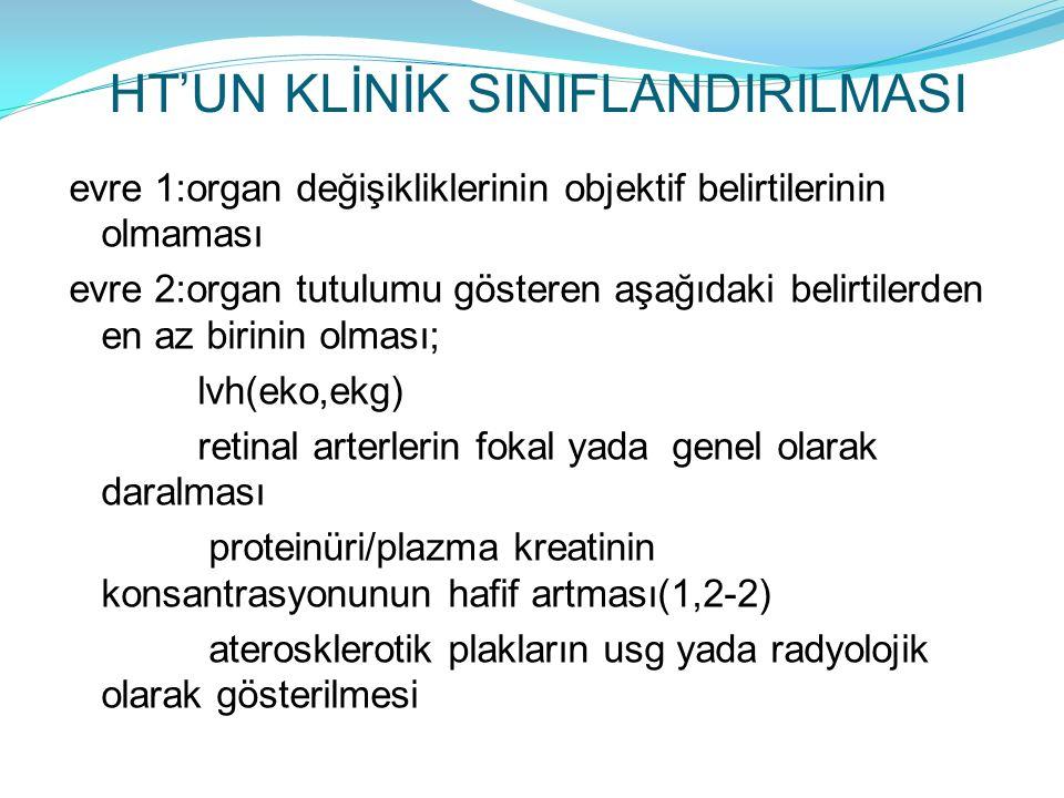 HT'UN KLİNİK SINIFLANDIRILMASI evre 1:organ değişikliklerinin objektif belirtilerinin olmaması evre 2:organ tutulumu gösteren aşağıdaki belirtilerden