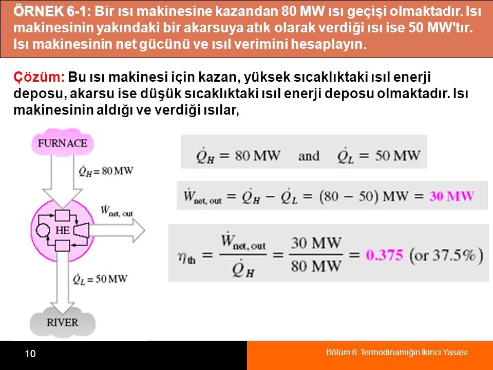 Bölüm 6: Termodinamiğin İkinci Yasası 10 ÖRNEK 6-1: ÖRNEK 6-1: Bir ısı makinesine kazandan 80 MW ısı geçişi olmaktadır. Isı makinesinin yakındaki bir