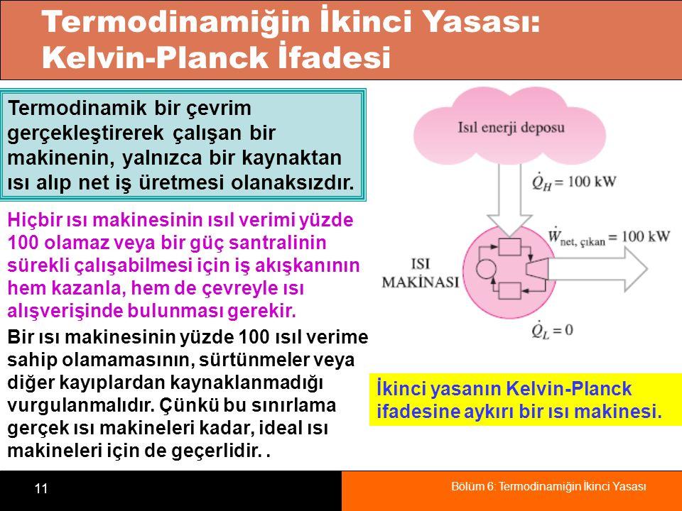 Bölüm 6: Termodinamiğin İkinci Yasası 11 Termodinamiğin İkinci Yasası: Kelvin-Planck İfadesi İkinci yasanın Kelvin-Planck ifadesine aykırı bir ısı mak