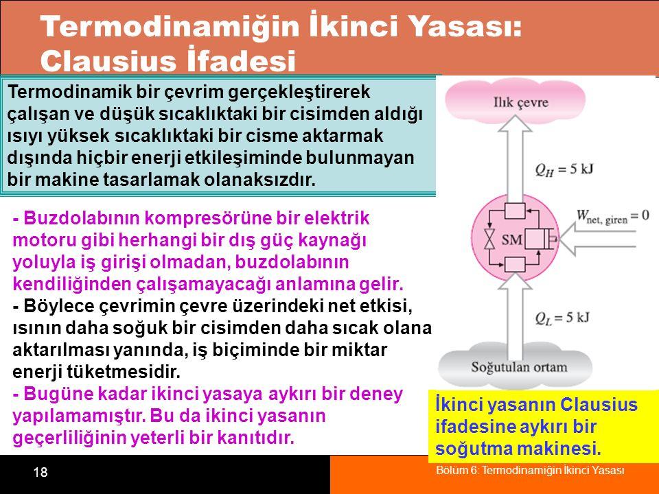 Bölüm 6: Termodinamiğin İkinci Yasası 18 Termodinamiğin İkinci Yasası: Clausius İfadesi Termodinamik bir çevrim gerçekleştirerek çalışan ve düşük sıca