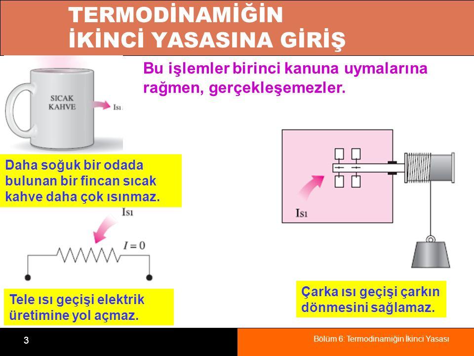 Bölüm 6: Termodinamiğin İkinci Yasası 34 ÖZET Birinci yasaya giriş Isıl enerji depoları Isı makineleri Isıl verim İkinci kanun: Kelvin-Planck ifadesi Soğutma makineleri ve ısı pompaları Etkinlik Katsayısı (COP) İkinci kanun: Clasius ifadesi Devridaim makineleri Tersinir ve tersinmez hal değişimleri Tersinmezlikler, İçten ve Dıştan tersinir hal değişimleri Carnot çevrimi Ters Carnot çevrimi Carnot ilkeleri Termodinamik sıcaklık ölçeği Carnot ısı makineleri Enerjinin niteliği Carnot soğutma makinesi ve ısı pompası