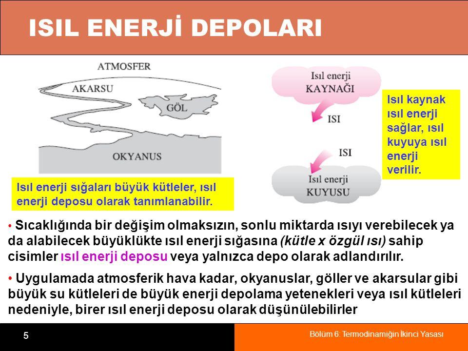 Bölüm 6: Termodinamiğin İkinci Yasası 5 ISIL ENERJİ DEPOLARI Isıl enerji sığaları büyük kütleler, ısıl enerji deposu olarak tanımlanabilir. Isıl kayna
