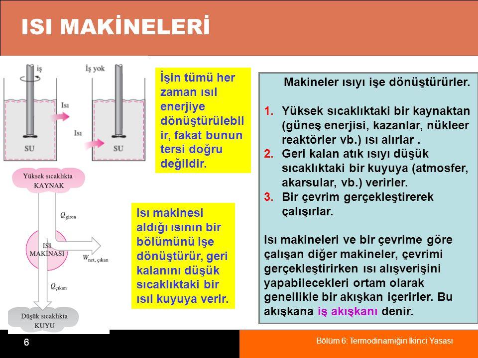Bölüm 6: Termodinamiğin İkinci Yasası 7 Bir Buharlı Güç Santrali Isı makinesinin yaptığı işin bir bölümü, sürekli çalışmayı sağla- mak için çevrim içinde kullanılır.