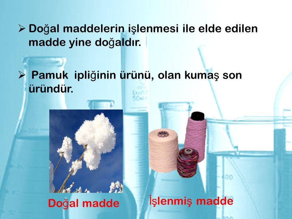  Do ğ al maddelerin i ş lenmesi ile elde edilen madde yine do ğ aldır.