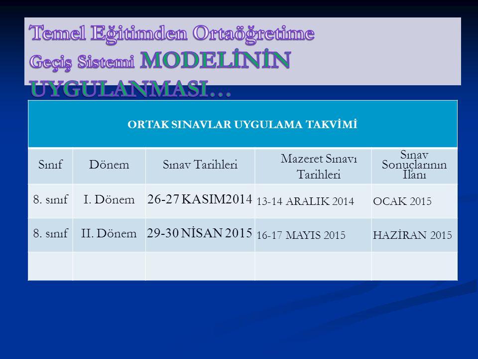 ORTAK SINAVLAR UYGULAMA TAKVİMİ SınıfDönemSınav Tarihleri Mazeret Sınavı Tarihleri Sınav Sonuçlarının İlanı 8.