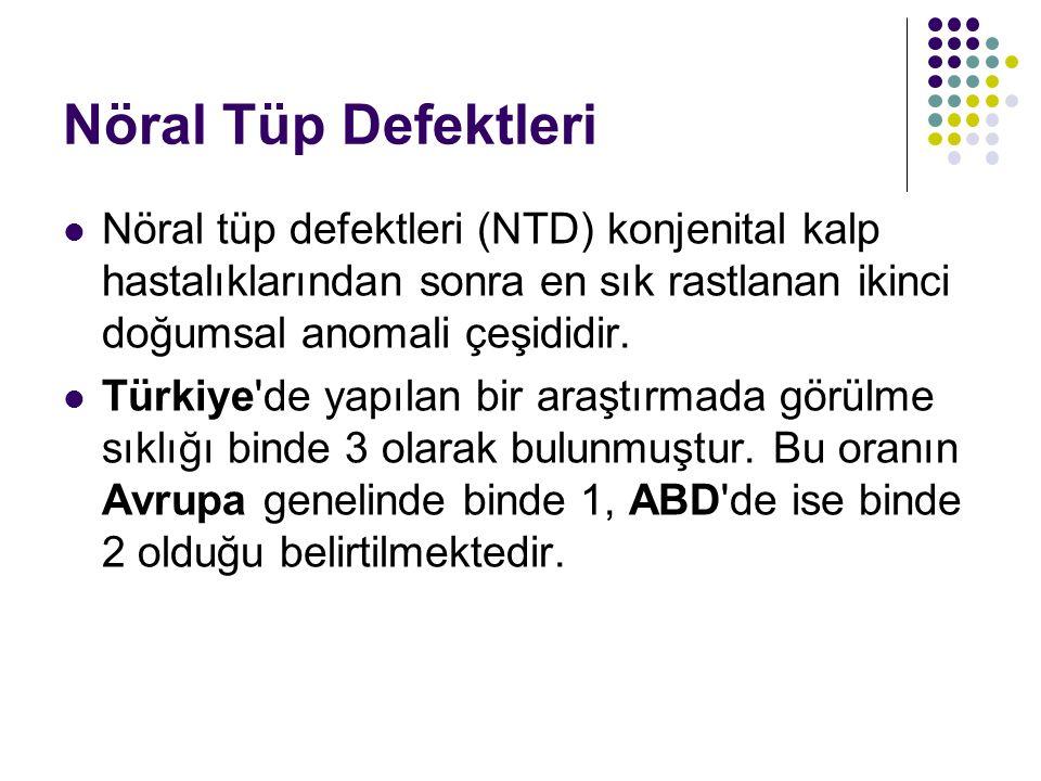 Nöral Tüp Defektleri Nöral tüp defektleri (NTD) konjenital kalp hastalıklarından sonra en sık rastlanan ikinci doğumsal anomali çeşididir. Türkiye'de
