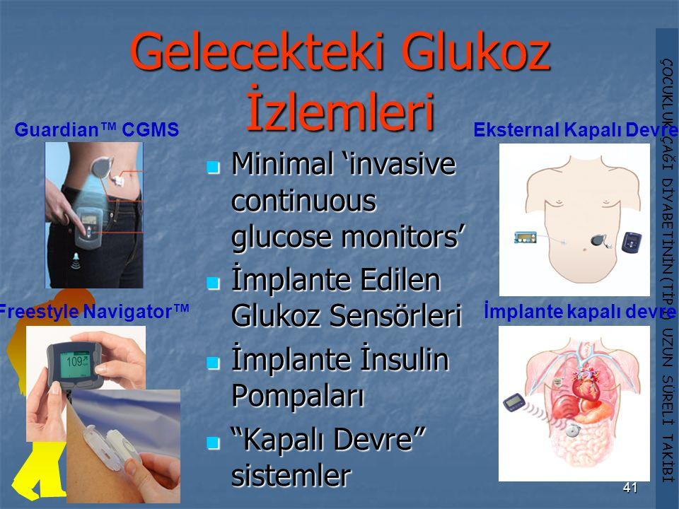 ÇOCUKLUK ÇAĞI DİYABETİNİN (TİP 1) UZUN SÜRELİ TAKİBİ 41 Gelecekteki Glukoz İzlemleri Minimal 'invasive continuous glucose monitors' Minimal 'invasive