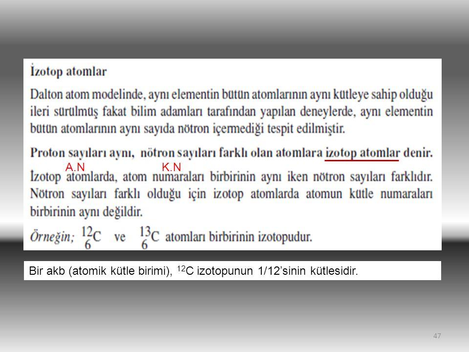 47 A.NK.N Bir akb (atomik kütle birimi), 12 C izotopunun 1/12'sinin kütlesidir.