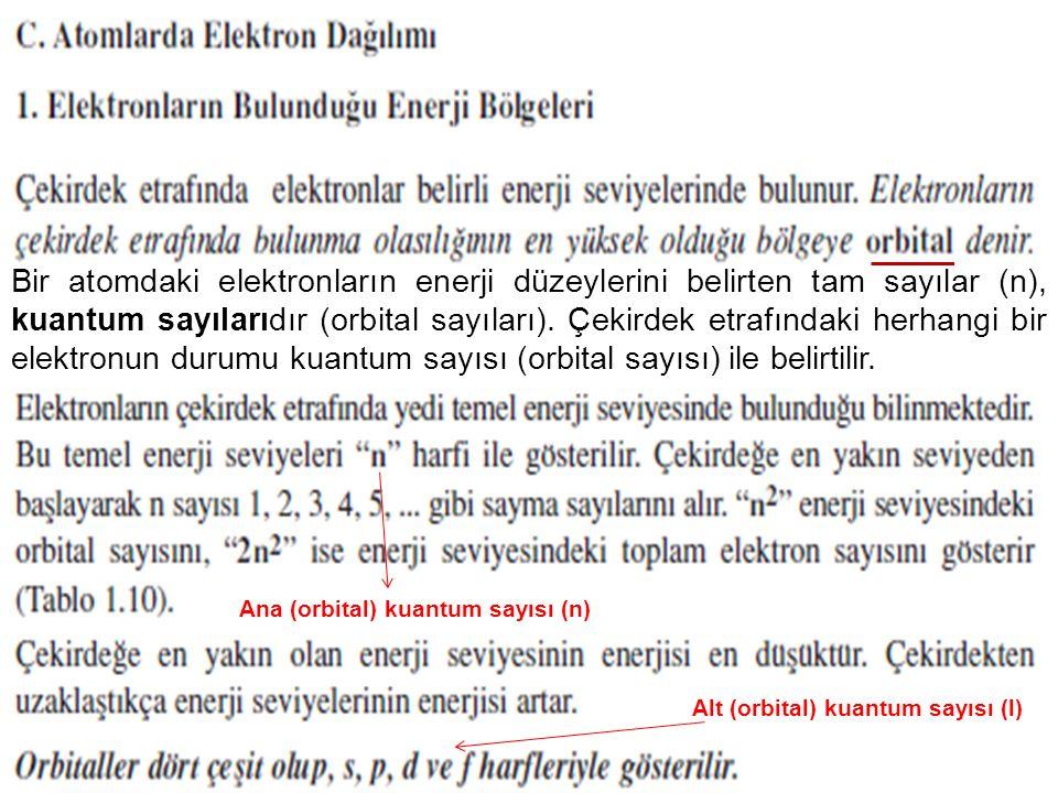 54 Bir atomdaki elektronların enerji düzeylerini belirten tam sayılar (n), kuantum sayılarıdır (orbital sayıları). Çekirdek etrafındaki herhangi bir e