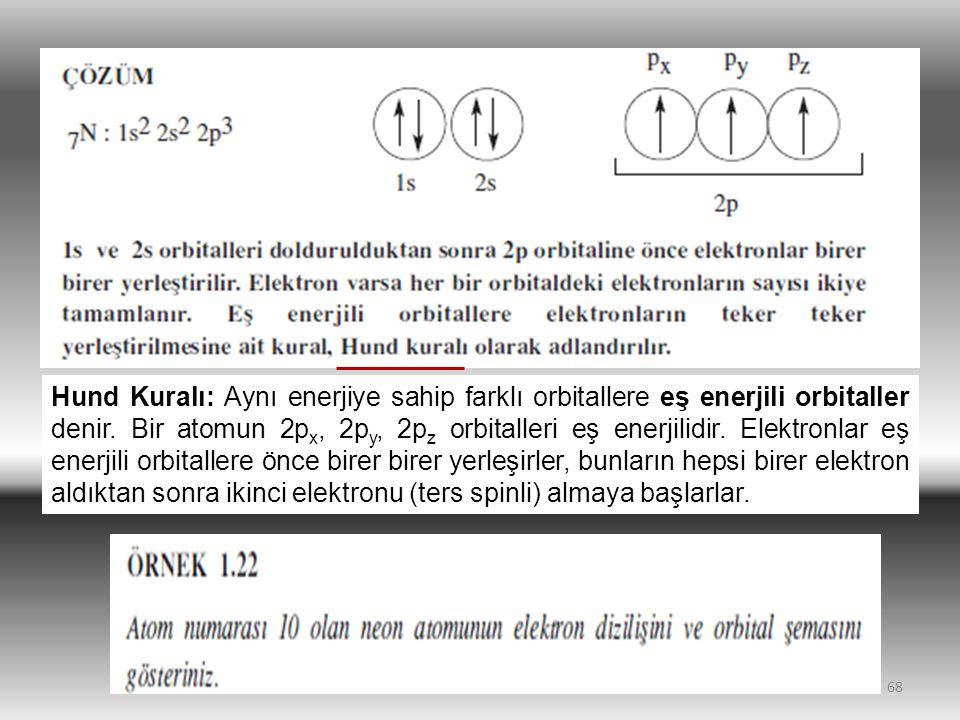 68 Hund Kuralı: Aynı enerjiye sahip farklı orbitallere eş enerjili orbitaller denir. Bir atomun 2p x, 2p y, 2p z orbitalleri eş enerjilidir. Elektronl