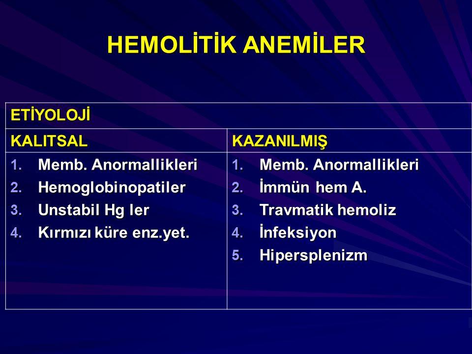 ETİYOLOJİ KALITSALKAZANILMIŞ 1. Memb. Anormallikleri 2. Hemoglobinopatiler 3. Unstabil Hg ler 4. Kırmızı küre enz.yet. 1. Memb. Anormallikleri 2. İmmü