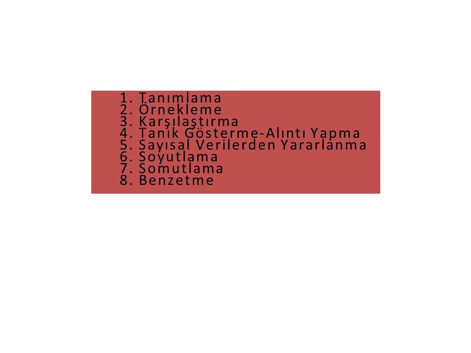 1. Tanımlama 2. Örnekleme 3. Karşılaştırma 4. Tanık Gösterme-Alıntı Yapma 5. Sayısal Verilerden Yararlanma 6. Soyutlama 7. Somutlama 8. Benzetme