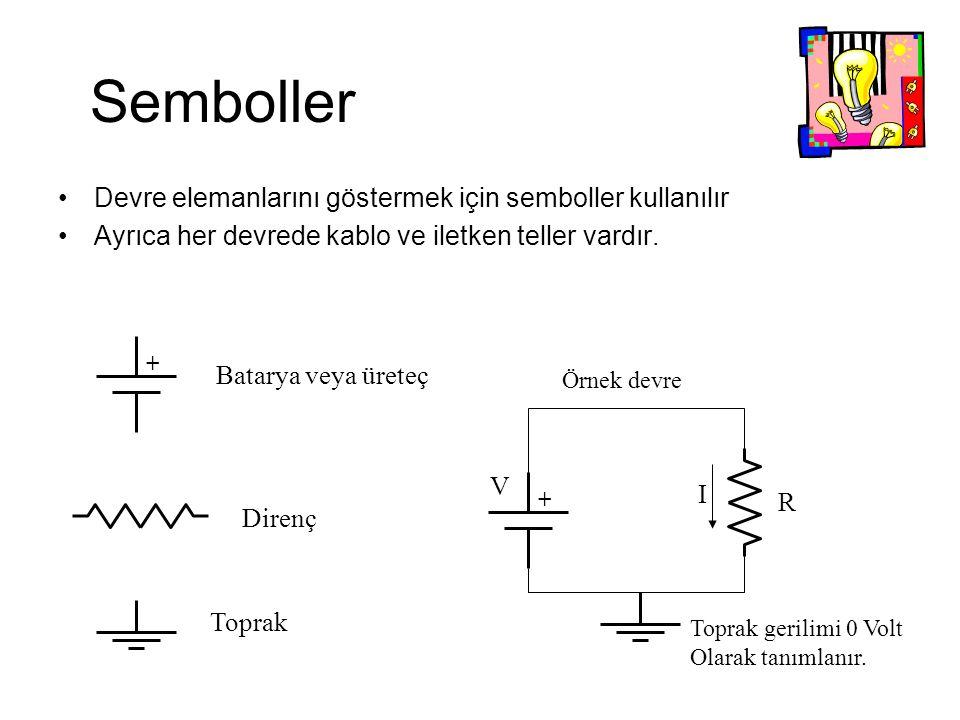 Semboller Devre elemanlarını göstermek için semboller kullanılır Ayrıca her devrede kablo ve iletken teller vardır.