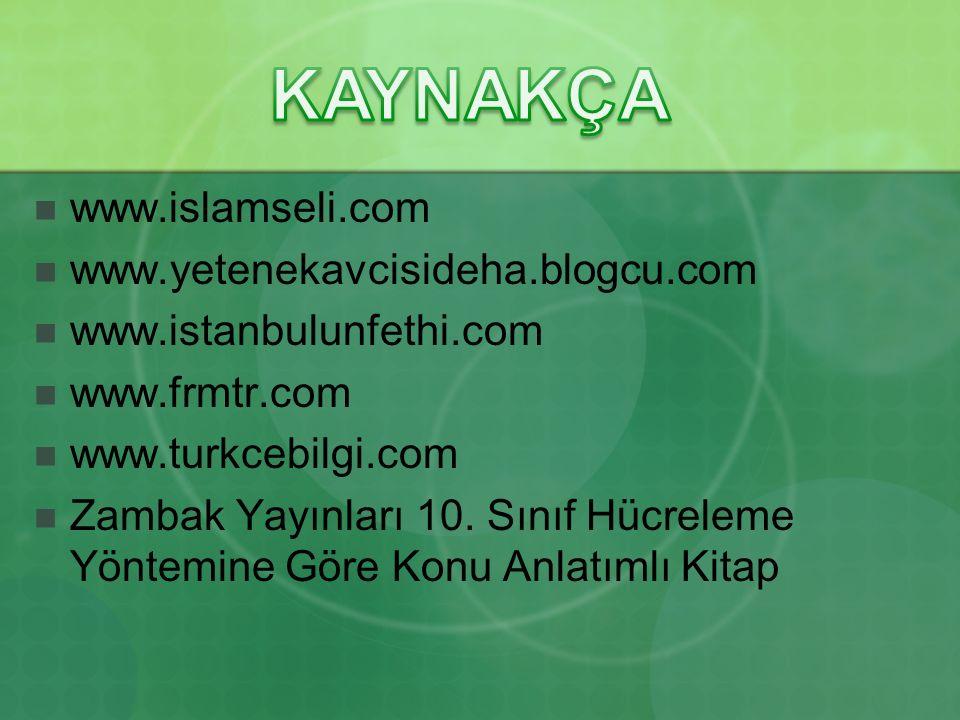www.islamseli.com www.yetenekavcisideha.blogcu.com www.istanbulunfethi.com www.frmtr.com www.turkcebilgi.com Zambak Yayınları 10.