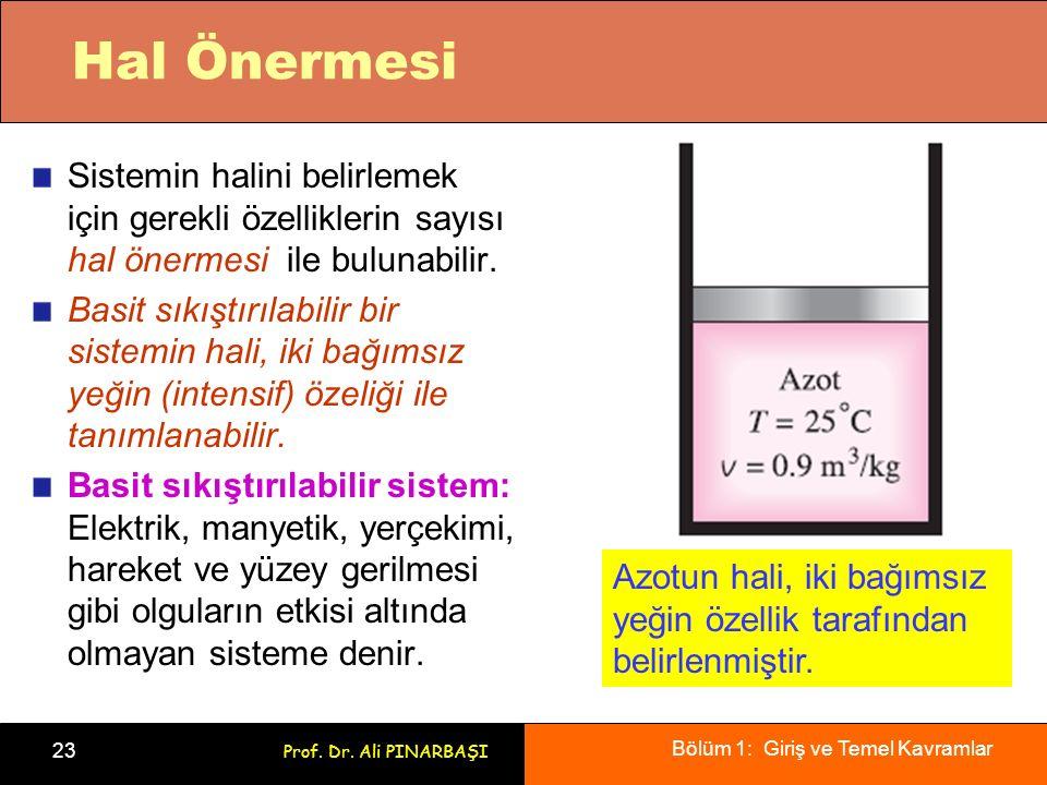 Bölüm 1: Giriş ve Temel Kavramlar 23 Prof. Dr. Ali PINARBAŞI Hal Önermesi Sistemin halini belirlemek için gerekli özelliklerin sayısı hal önermesi ile