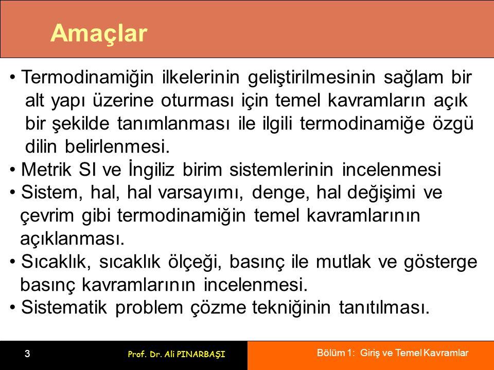 Bölüm 1: Giriş ve Temel Kavramlar 3 Prof. Dr. Ali PINARBAŞI Amaçlar Termodinamiğin ilkelerinin geliştirilmesinin sağlam bir alt yapı üzerine oturması
