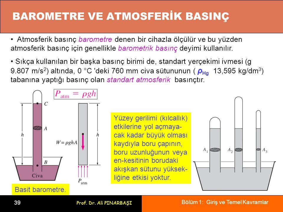 Bölüm 1: Giriş ve Temel Kavramlar 39 Prof. Dr. Ali PINARBAŞI BAROMETRE VE ATMOSFERİK BASINÇ Atmosferik basınç barometre denen bir cihazla ölçülür ve b