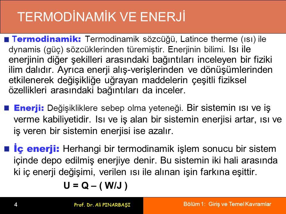 Bölüm 1: Giriş ve Temel Kavramlar 4 Prof. Dr. Ali PINARBAŞI TERMODİNAMİK VE ENERJİ T ermodinamik: Termodinamik sözcüğü, Latince therme (ısı) ile dynam