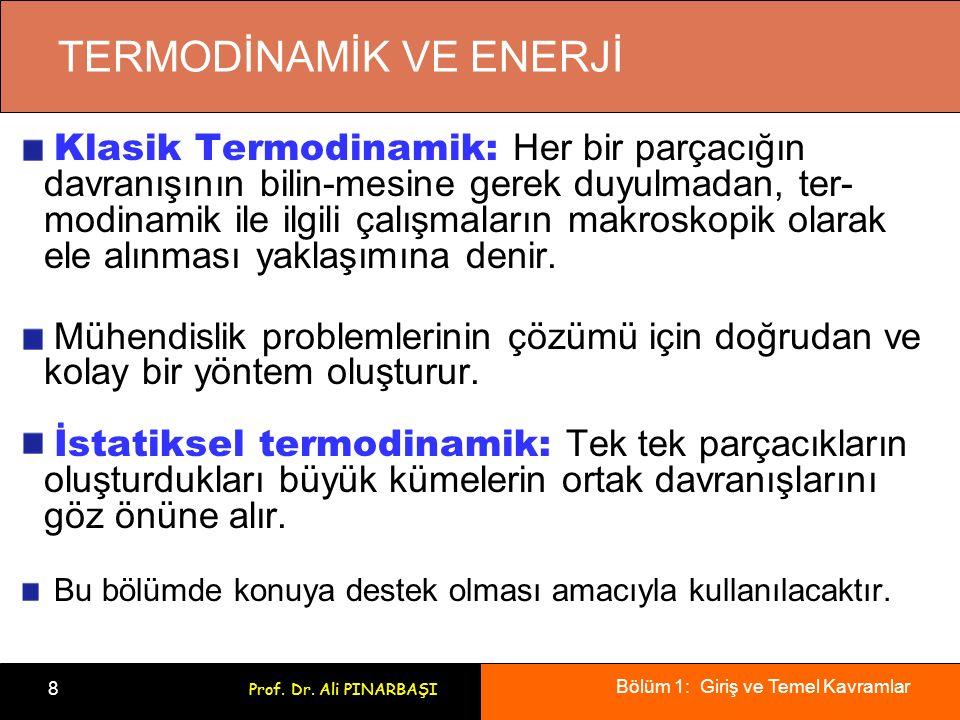 Bölüm 1: Giriş ve Temel Kavramlar 9 Prof. Dr. Ali PINARBAŞI Termodinamiğin Uygulama Alanları