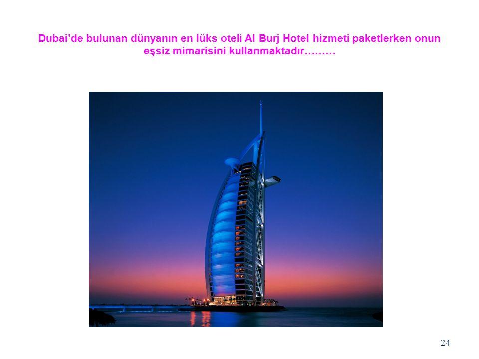 Dubai'de bulunan dünyanın en lüks oteli Al Burj Hotel hizmeti paketlerken onun eşsiz mimarisini kullanmaktadır……… 24