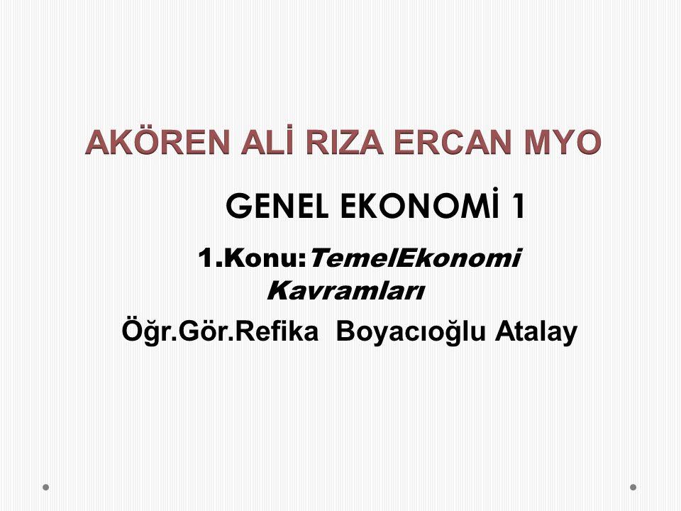 GENEL EKONOMİ 1 1.Konu:TemelEkonomi Kavramları Öğr.Gör.Refika Boyacıoğlu Atalay