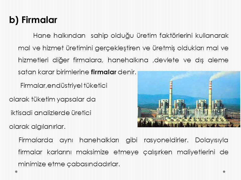 b) Firmalar Hane halkından sahip olduğu üretim faktörlerini kullanarak mal ve hizmet üretimini gerçekleştiren ve üretmiş oldukları mal ve hizmetleri d