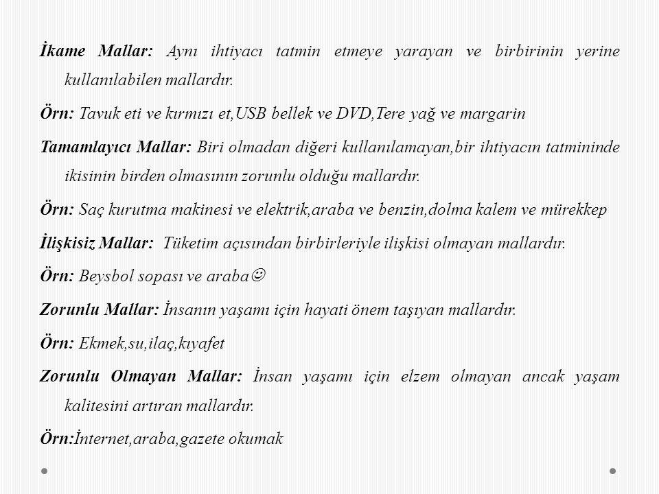 İkame Mallar: Aynı ihtiyacı tatmin etmeye yarayan ve birbirinin yerine kullanılabilen mallardır. Örn: Tavuk eti ve kırmızı et,USB bellek ve DVD,Tere y