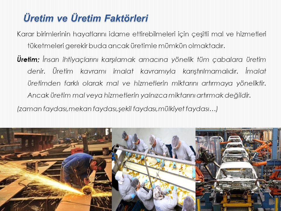 Üretim ve Üretim Faktörleri Üretim ve Üretim Faktörleri Karar birimlerinin hayatlarını idame ettirebilmeleri için çeşitli mal ve hizmetleri tüketmeler