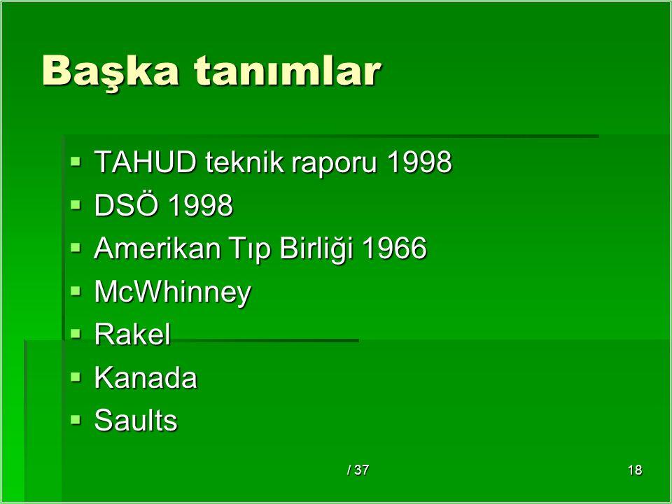 / 3718 Başka tanımlar  TAHUD teknik raporu 1998  DSÖ 1998  Amerikan Tıp Birliği 1966  McWhinney  Rakel  Kanada  Saults
