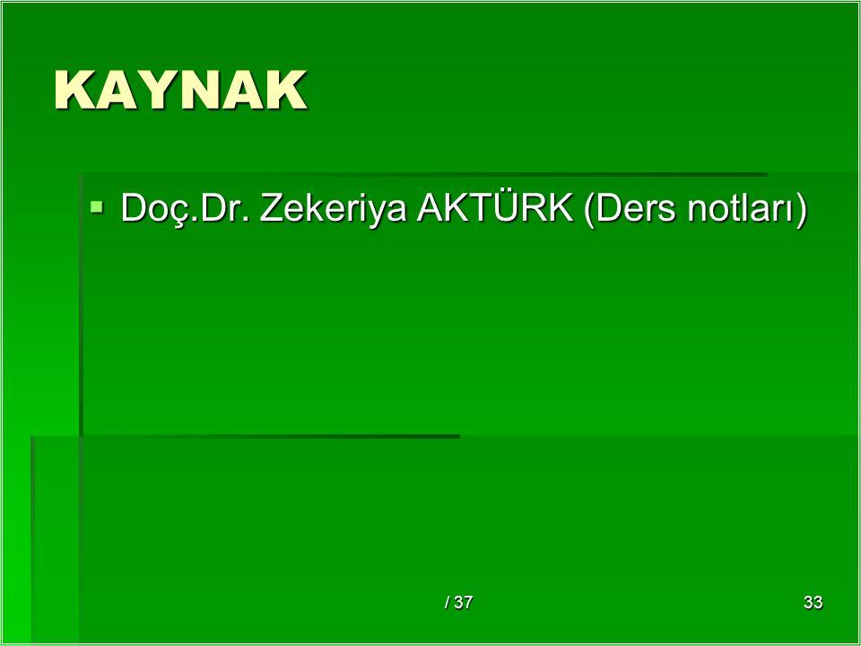/ 3733 KAYNAK  Doç.Dr. Zekeriya AKTÜRK (Ders notları)