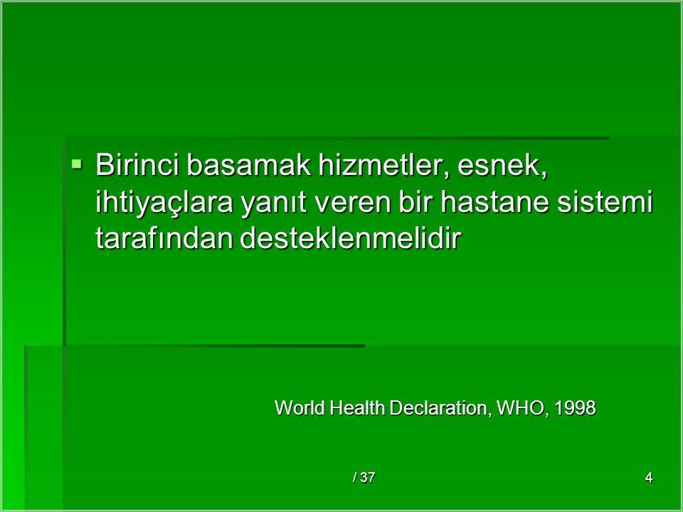 / 374  Birinci basamak hizmetler, esnek, ihtiyaçlara yanıt veren bir hastane sistemi tarafından desteklenmelidir World Health Declaration, WHO, 1998