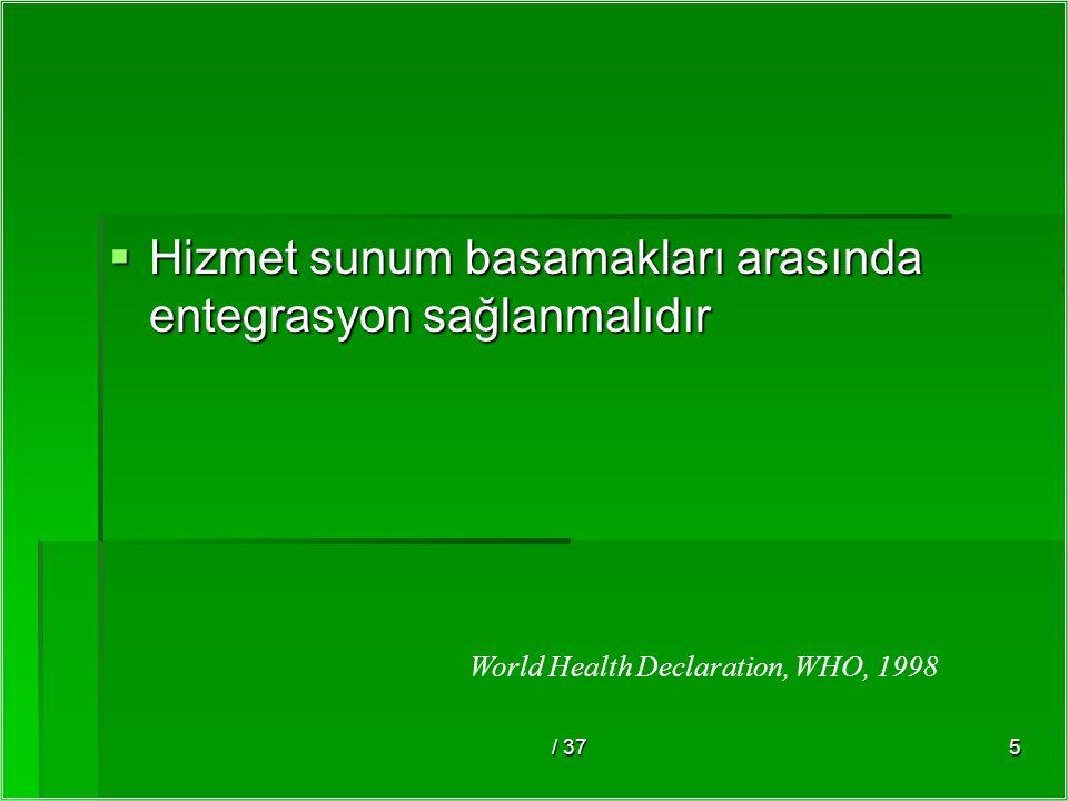 / 375  Hizmet sunum basamakları arasında entegrasyon sağlanmalıdır World Health Declaration, WHO, 1998
