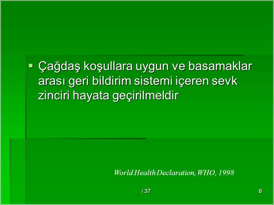/ 376  Çağdaş koşullara uygun ve basamaklar arası geri bildirim sistemi içeren sevk zinciri hayata geçirilmeldir World Health Declaration, WHO, 1998
