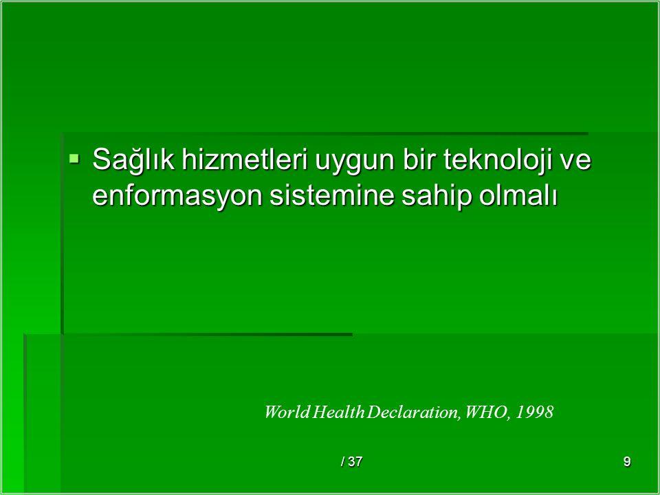 / 379  Sağlık hizmetleri uygun bir teknoloji ve enformasyon sistemine sahip olmalı World Health Declaration, WHO, 1998