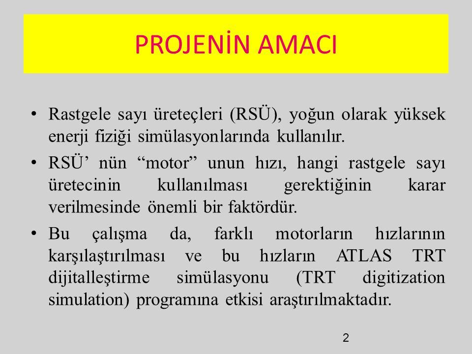 """2 PROJENİN AMACI Rastgele sayı üreteçleri (RSÜ), yoğun olarak yüksek enerji fiziği simülasyonlarında kullanılır. RSÜ' nün """"motor"""" unun hızı, hangi ras"""