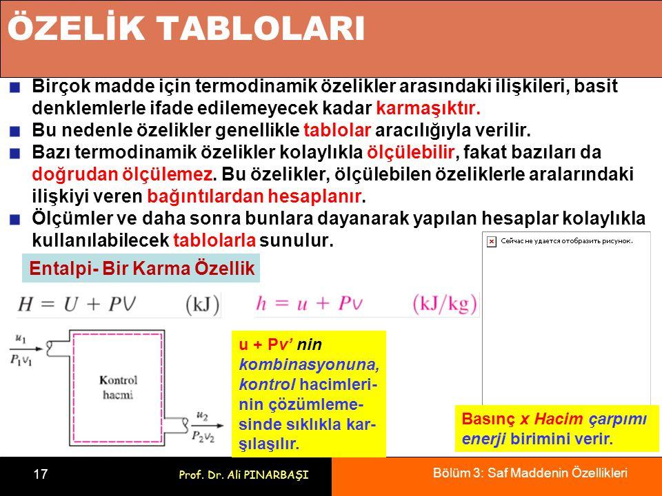 Bölüm 3: Saf Maddenin Özellikleri 17 Prof. Dr. Ali PINARBAŞI ÖZELİK TABLOLARI Birçok madde için termodinamik özelikler arasındaki ilişkileri, basit de
