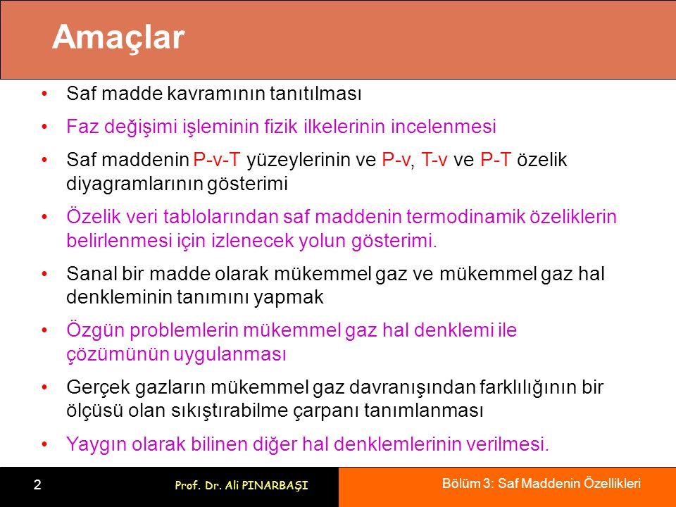Bölüm 3: Saf Maddenin Özellikleri 2 Prof. Dr. Ali PINARBAŞI Amaçlar Saf madde kavramının tanıtılması Faz değişimi işleminin fizik ilkelerinin incelenm