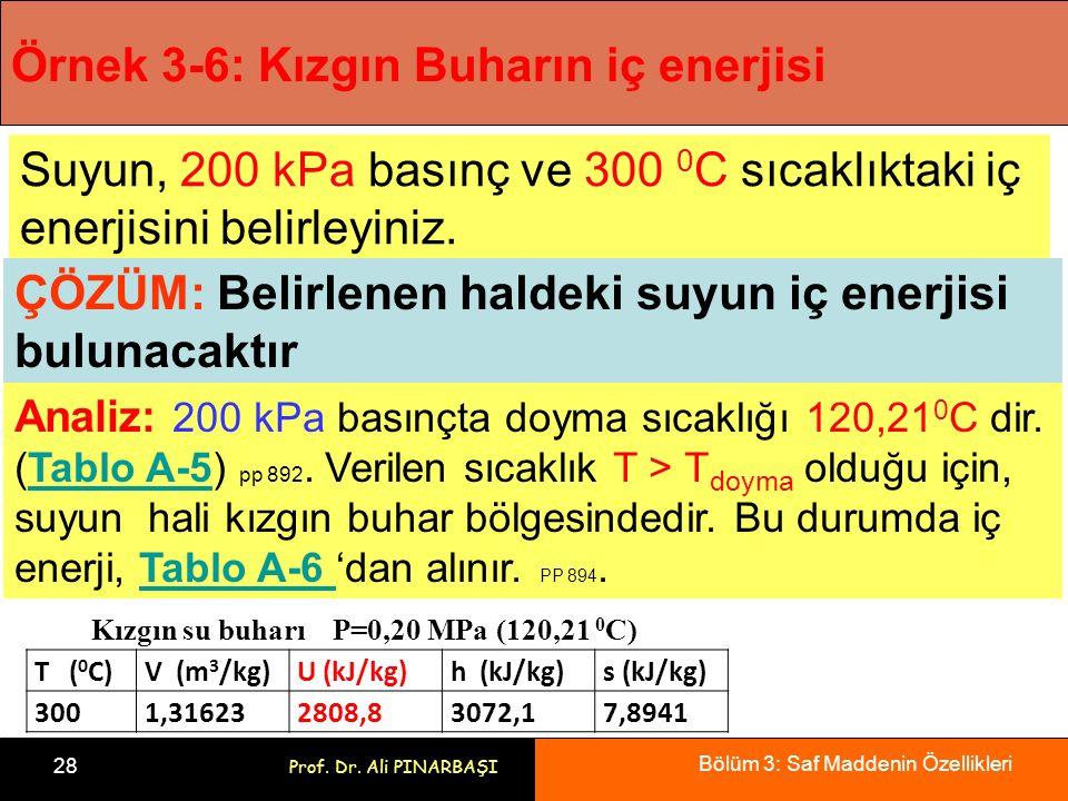 Bölüm 3: Saf Maddenin Özellikleri 28 Prof. Dr. Ali PINARBAŞI Örnek 3-6: Kızgın Buharın iç enerjisi Suyun, 200 kPa basınç ve 300 0 C sıcaklıktaki iç en